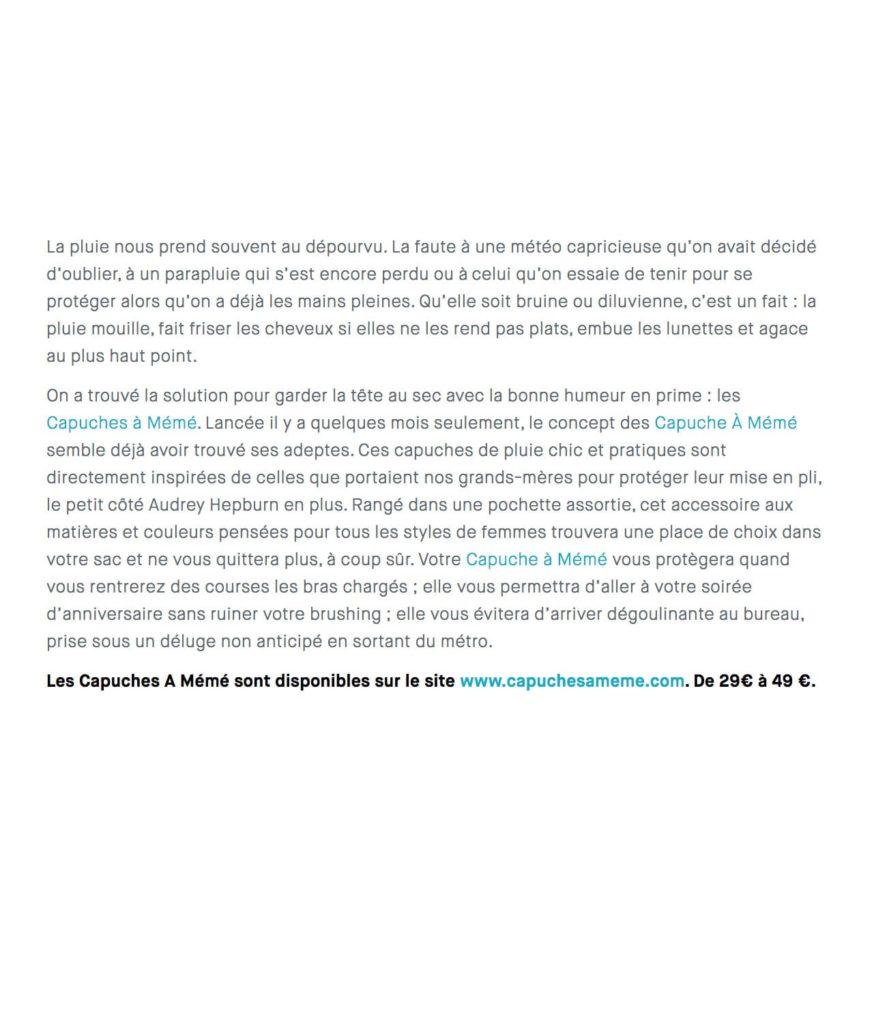 Les Capuches à Mémé - A Nous Paris